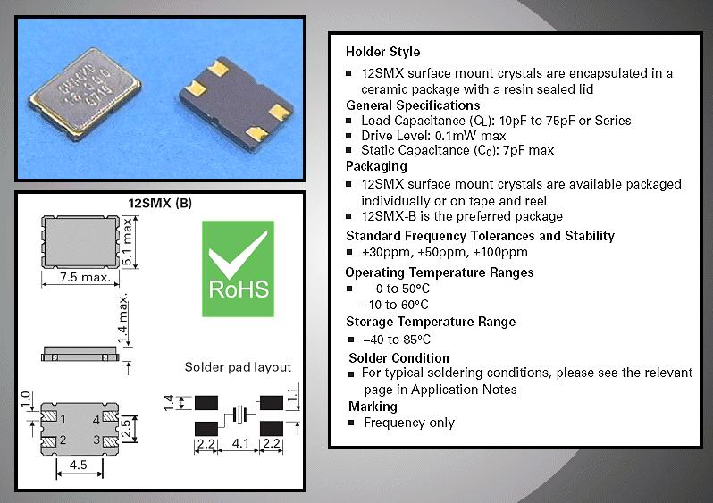 QUARTZ 16.000.000 MHz SMD 4p. 16.0 SMXB