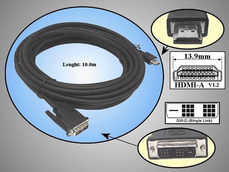 DVI-D 24+1 dugó- HDMI dugó 10m CABLE DVI-HDM10