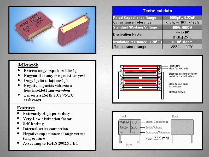 Kondenzátor 1.8nF 2000V Polyprop FKP1 C 1N8 2000/FKP