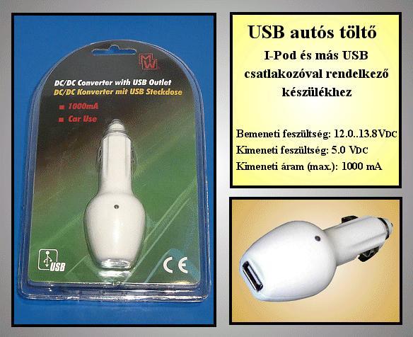Autós szivargyújtó töltő USB-s 5VDC / 1A P.SUP.USB
