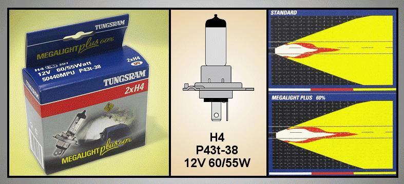 2db Autó izzó 12V H4 MEGAL.+ LAMP-H4MPLUS-12