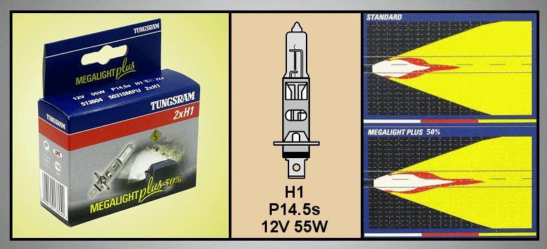 2db Autó izzó 12V H1 MEGAL.+ LAMP-H1MPLUS-12