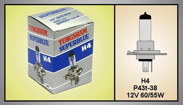 Autó izzó 12V H4 SUPERBLUE LAMP-H4SBLUE-12