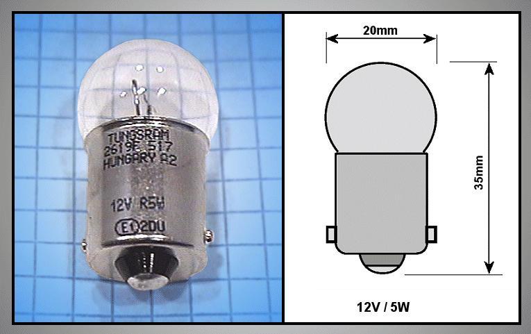 Autó izzó 12V 5W Bajonet R5W LAMP-R5W-12
