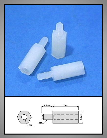 Távtartó 12mm M3 1belső 6mm / 1külső 6mm műanyag V-0051203BKP