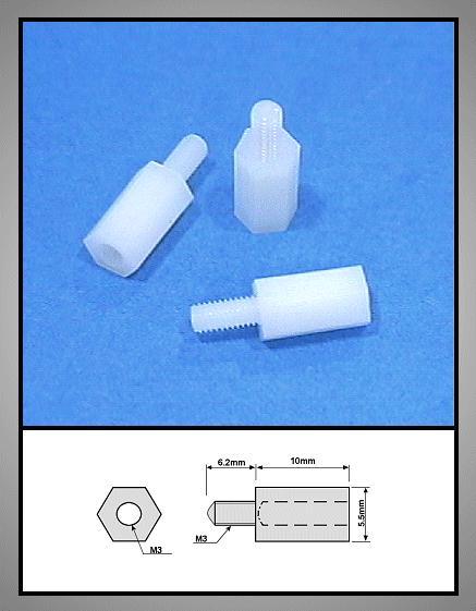 Távtartó 10mm M3 1belső/1külső Műa.Fehér V-0051003BKP