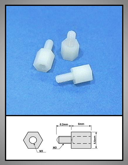 Távtartó 6mm M3 1belső/1külső Műanyag V-0050603BKP
