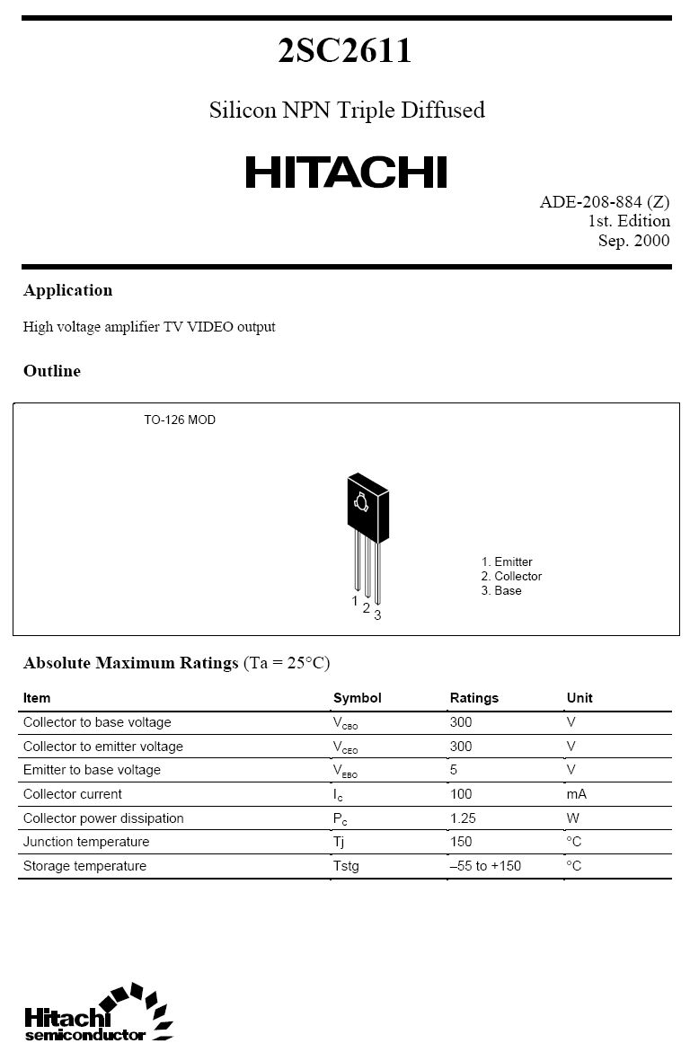 Tranzisztor NPN 300V 0.1A 1.25W 80MHz VID 2SC2611 2SC2611