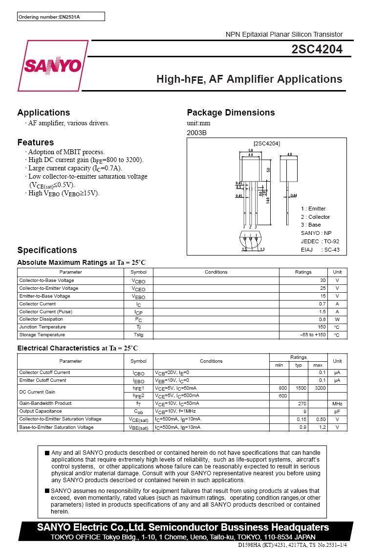 Tranzisztor NPN 30V 0.7A 0.6W 270MHz Ube15V Hi-Beta 2SC4204 2SC4204 -