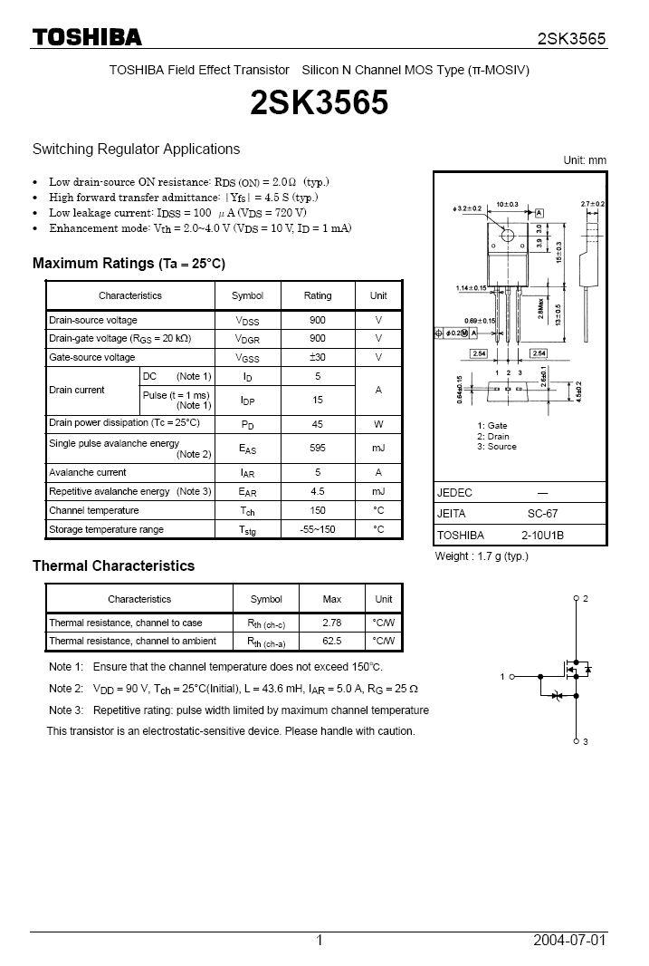 Tranzisztor N-MOSFET+Z 900V 5A IDp:15Ap 45W 2R SW-Reg. 2SK3565 2SK3565 -
