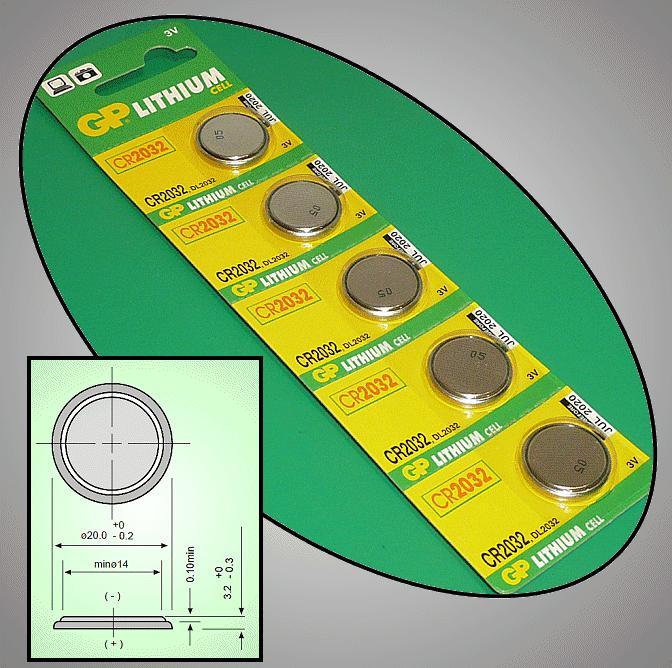 3V 210mAh lítium elem GP CR2032 BAT CR2032 GP.