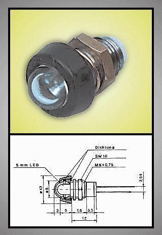 LED foglalat 5mm, krómozott, fekete, vízálló, üvegbúrás RTM-5040