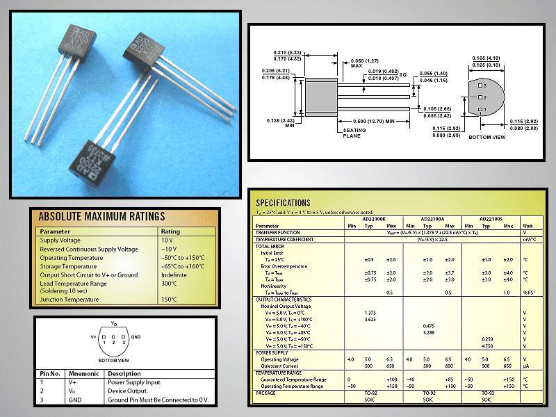 TEMP. SENSOR,Voltage output -55...+150c AD22100KTZ