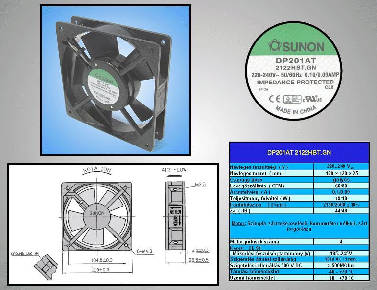 230V ventilátor 120x120x25mm DP201A2122HBT.GN CY 230/12025CS