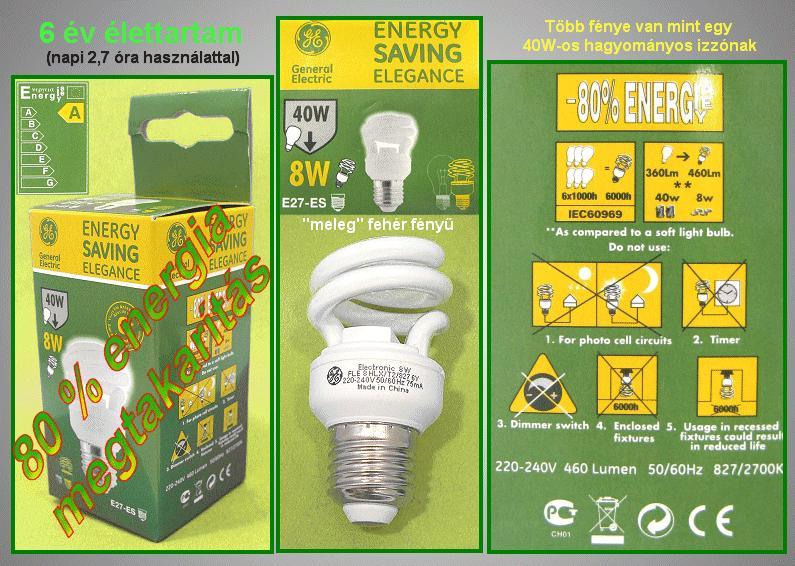Kompakt fénycső Spirál FLE8HLXT2/827/E27 6Y LAMP E27/08W-827S
