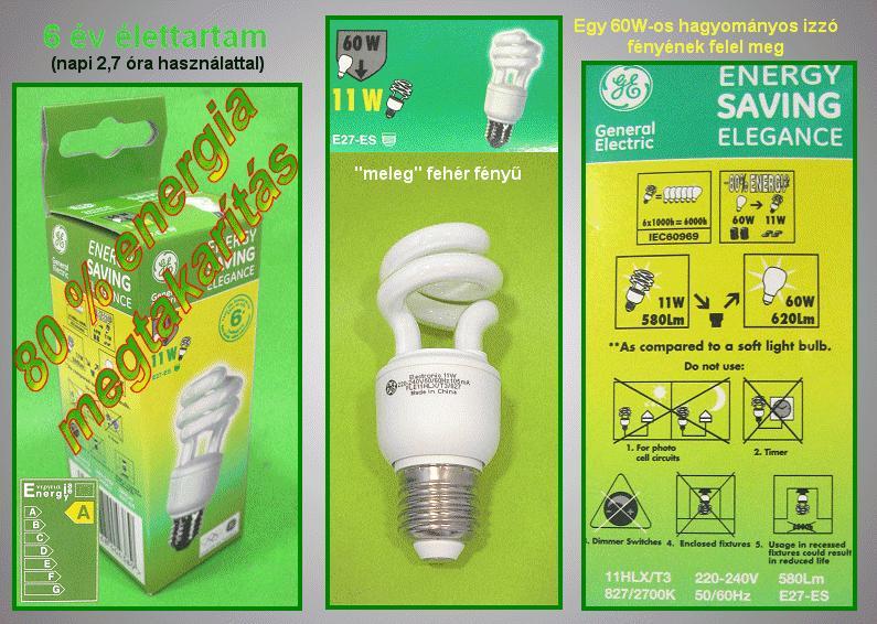 Kompakt fénycső Spirál FLE11HLXT3/827/E27 6Y LAMP E27/11W-827S
