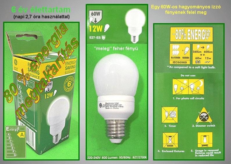 Kompakt fénycső FLE12GLS/T2/827/E27 6Y LAMP E27/12W-WG