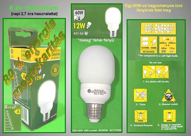 Kompakt fénycső FLE12SOFT/T2/827/E27 6Y LAMP E27/12W-827H