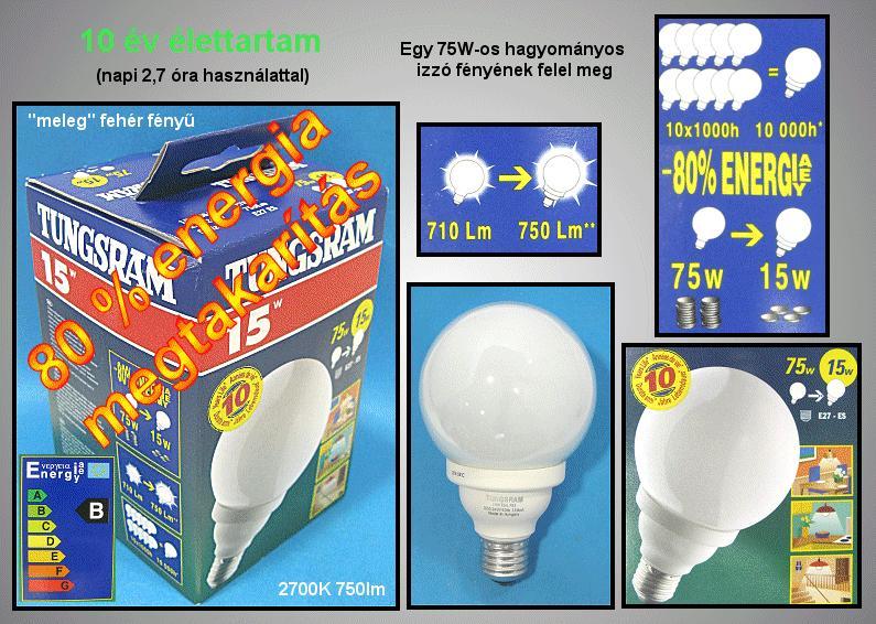 Kompakt fénycső Gömb FLE15W G-92 F82/E27/TU1/6LBX LAMP E27/15W-827G