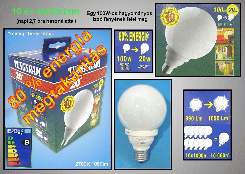 Kompakt fénycső Gömb FLE20/G-118/F82/E27TU1/6LBX LAMP E27/20W-827G