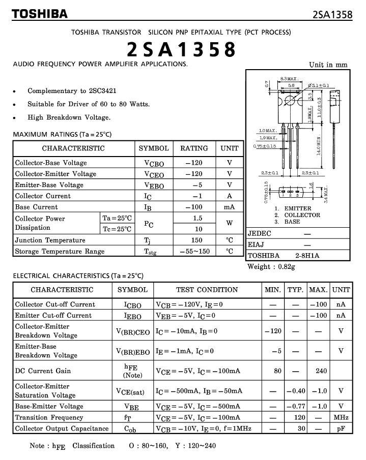 SI-P 120V 1A 10W 120MHz NF/SL 2SA1358Y