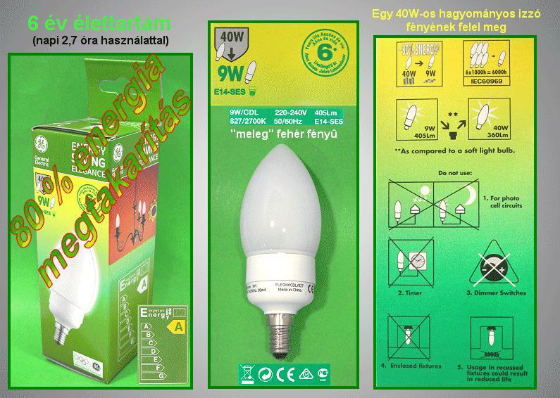 Kompakt fénycső Gyertya FLE9CDL/827/E14 6Y LAMP E14/ 9W-827GY