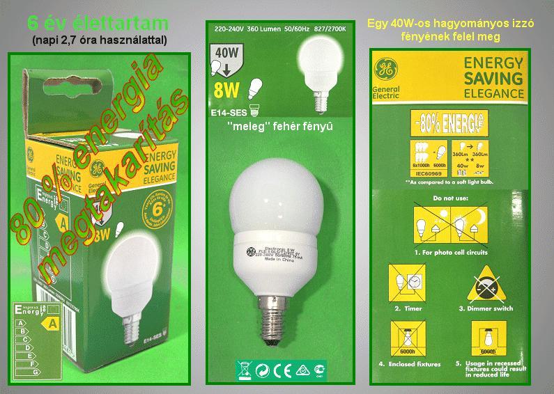 Kompakt fénycső Gömb FLE8GLS/T2/827/E14 6Y LAMP E14/ 8W-827G