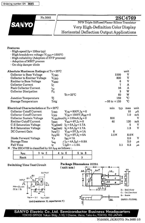 Tranzisztor NPN+DR 1500/800V 7A 60W 0.1..0.3uS 2SC4769 2SC4769 -