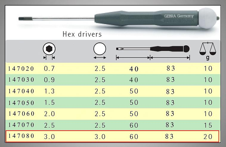 HEX WRENCH DRIVER 3.0mm 147080-GST