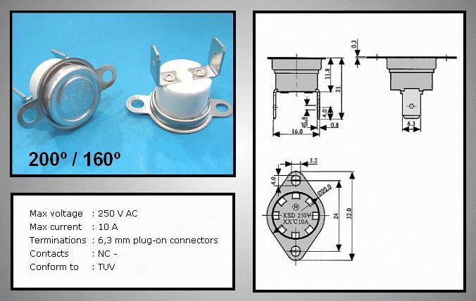 OPEN 200°C / CLOSE 160°C Vert. BT L-200V