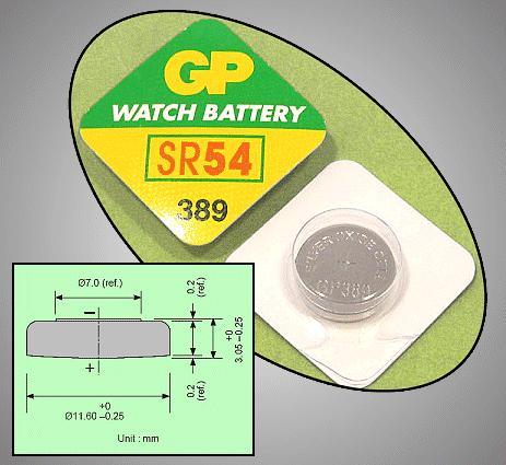 1.55V óraelem, ezüst GP 389 BAT 389 GP