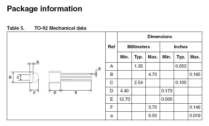 TRIAC 400V 1A Igt/Ih<5/7mA TO92 Z0103DA -