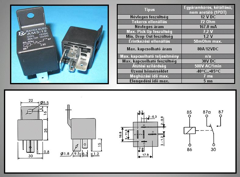 RELAY 1x30V 70/80A 12VDC 6.3sarus RELAY-AM3-12CF
