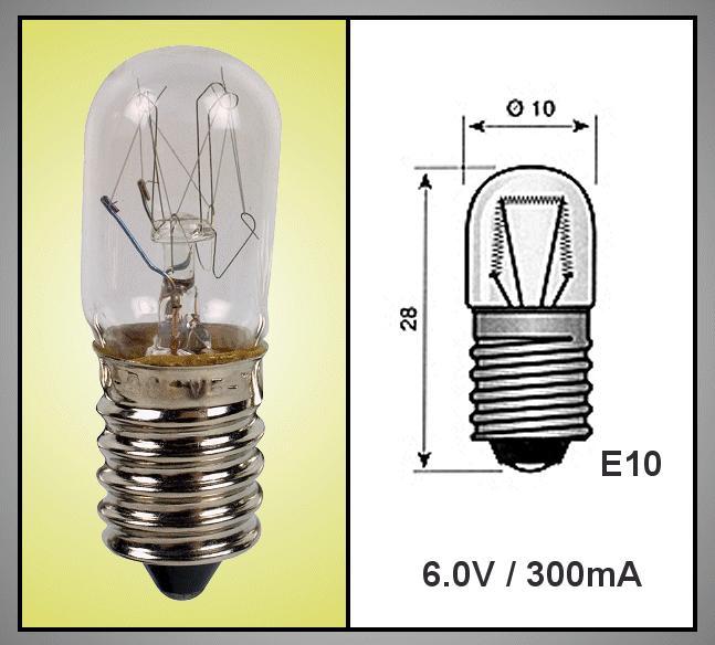 Izzó 6V 300mA TUBULAR E10 LAMP6.0V/300-A