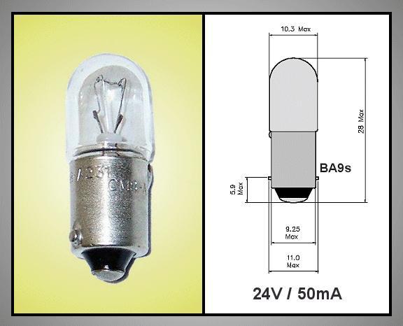 Izzó 24V 50mA  BA9S LAP LAMP24V/50-A