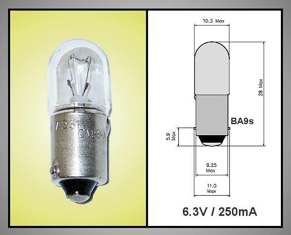 Izzó 6.3V 250mA  BA9S LAP LAMP6.3V/250BA9