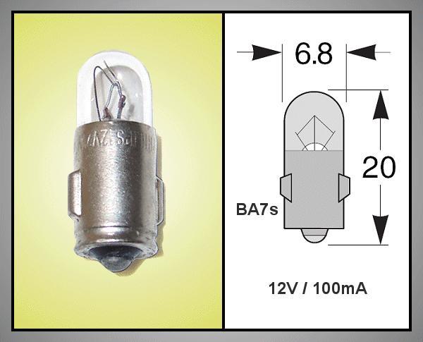 Izzó 12V 100mA BAYONET  BA7S LAMP12V/100-E