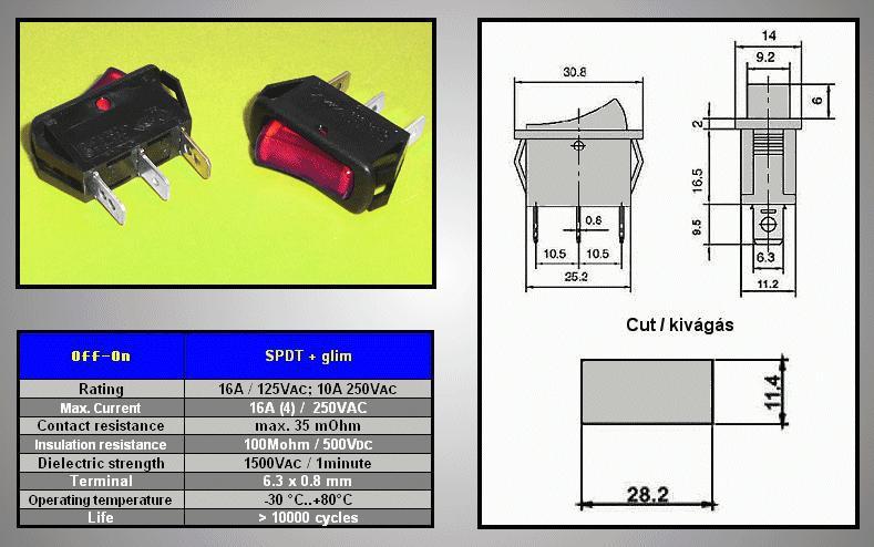 Billenő piros világító 1 áramkörös ON-OFF 10A...16A SW2101/R
