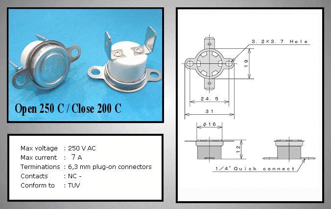 OPEN 250°C / CLOSE 200°C Vert. BT L-250V