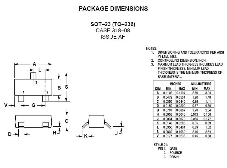 N-MOS SMD 60V 0.115A/0.8A 0.25W 7.5R (0.75A) 2N7002 -
