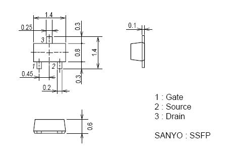 Tranzisztor N-MOSFET SMD 30V 0.15A 0.15W <3.7R 3LN01SS 3LN01SS -