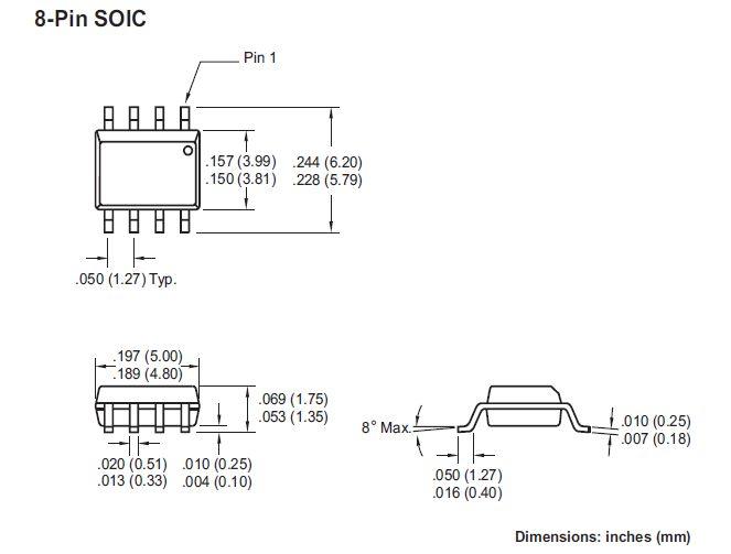 EEPROM 64K 8Kx8 bit I2C-bus 8p. SMD 24LC64-I/SN -