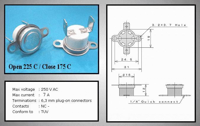 OPEN 225°C / CLOSE 175°C Vert. BT L-225V