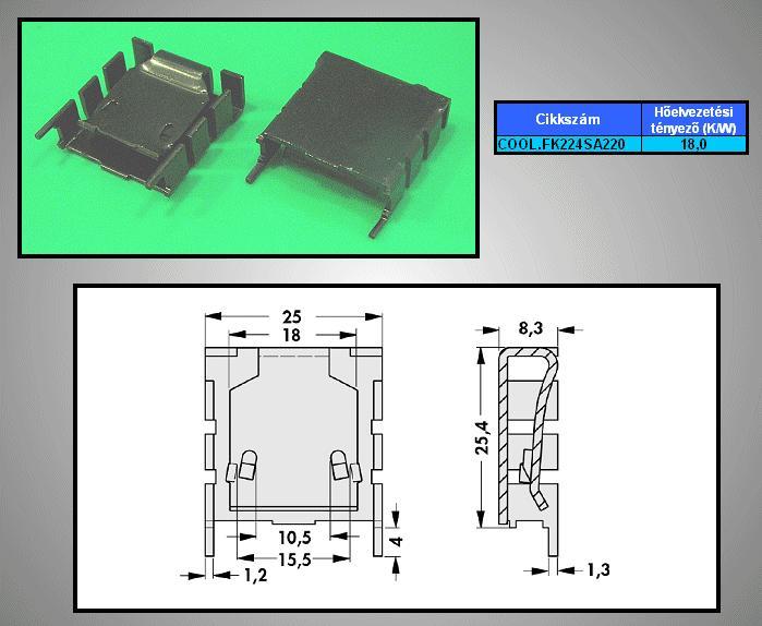 Hűtőborda TO220F 25.4x25x8.3mm COOL.FK224SA220