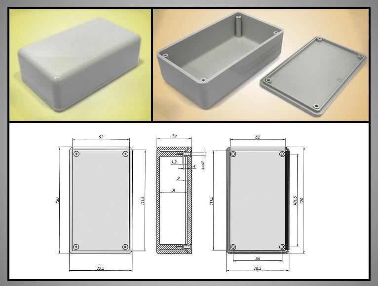 UNIVERSAL BOX 120x70x40mm szürke BOX KM55/ABS