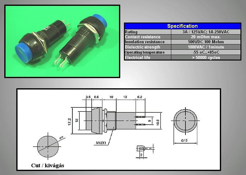 Nyitott nyomókapcsoló (kék) 1A 250V SW3002/BL