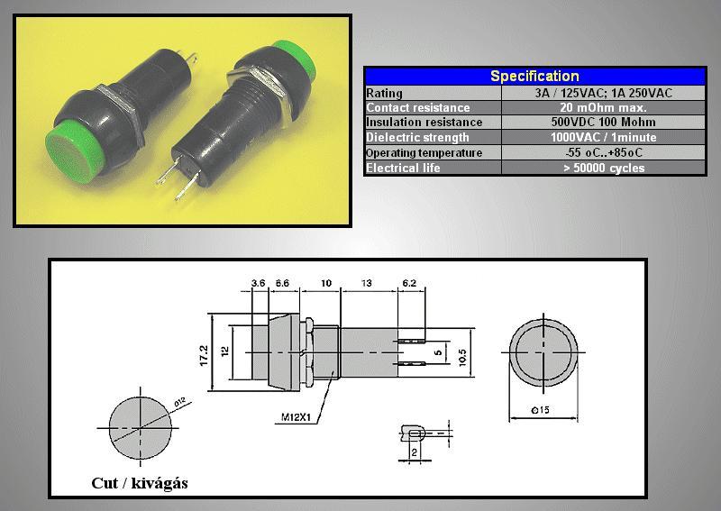 Nyitott nyomókapcsoló (zöld) 1A 250V SW3002/G