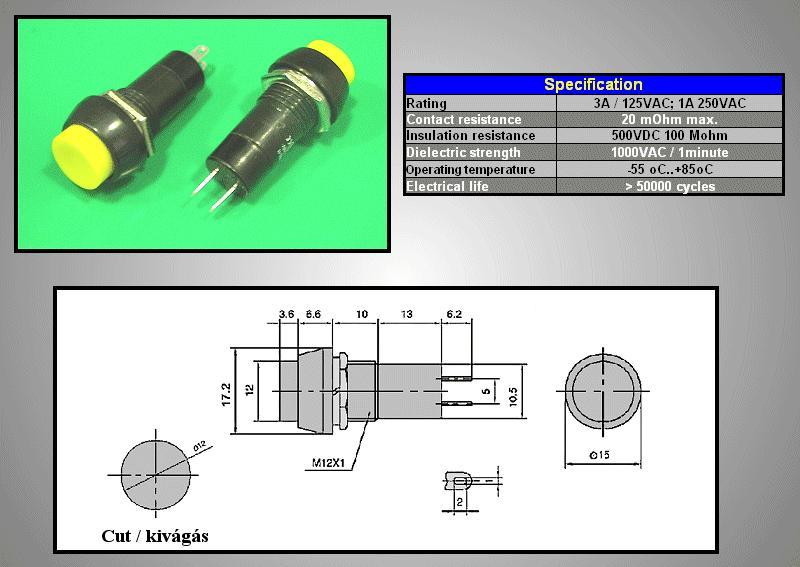 Nyitott nyomókapcsoló (sárga) 1A 250V SW3002/Y