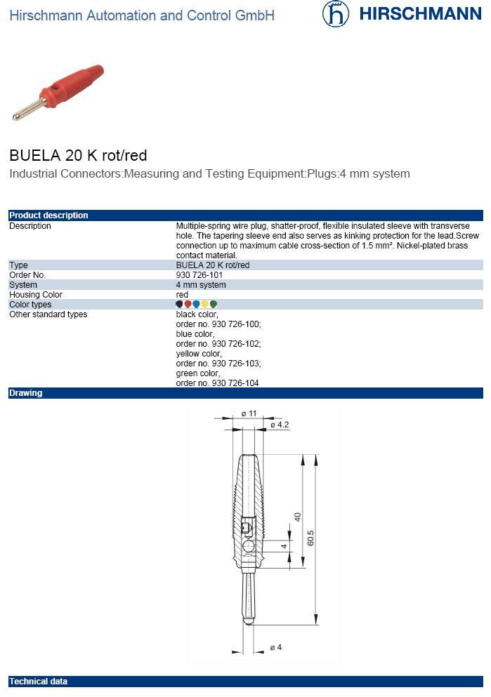 4mm banándugó piros csavaros 60V/16A CSAT-B003/R