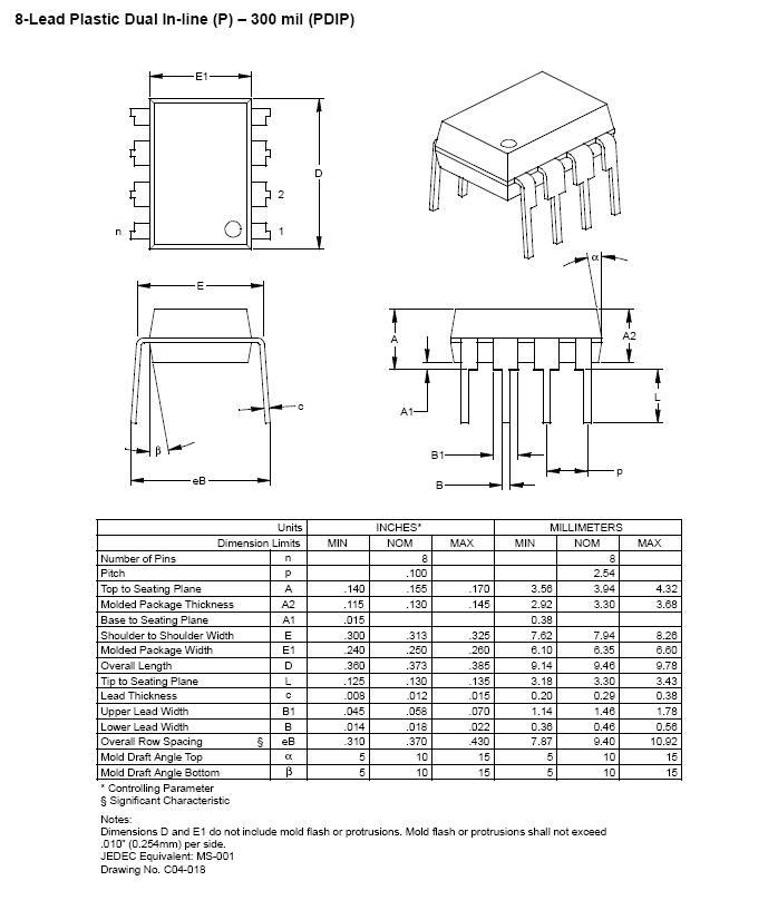 EEPROM 64Kx8 bit I2C bus 8p. 24LC512-I/P -